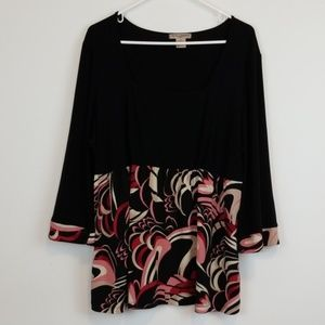 Susan Lawrence bell sleeve plus size top
